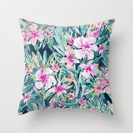 LUSH OLEANDER Tropical Watercolor Floral Throw Pillow