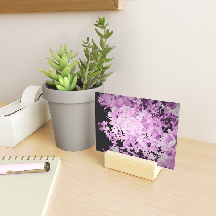 Purple Leaves Mini Art Print on a desk