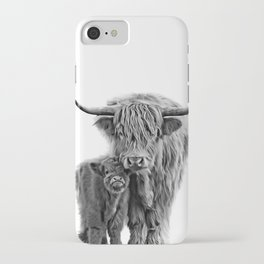 Highland Cow and The Baby iPhone Case