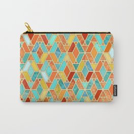 Tangerine & Turquoise Geometric Tile Pattern Carry-All Pouch