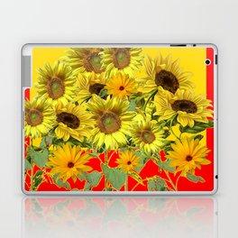 GOLDEN-RED SUNNY YELLOW SUNFLOWERS Laptop & iPad Skin