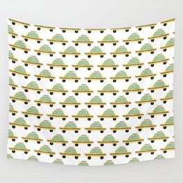 Hand Drawn Taxi Cab Pattern Wall Tapestry