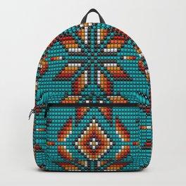 Modern colorful beaded boho aztec kilim pattern on teal Backpack