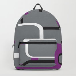 Violet Purple White Black Retro Square Pattern Gray Backpack