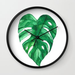 Monstera Leaf watercolor painting Wall Clock