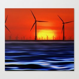Wind Farms in the Sunset (Digital Art) Canvas Print