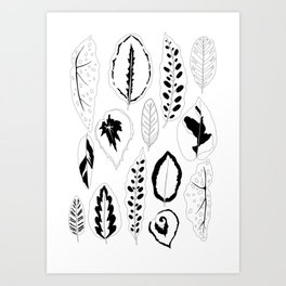Jungle Leaves in Black and White Art Print