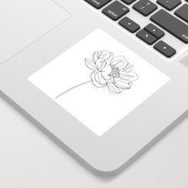Single flower line drawing - Hazel Sticker