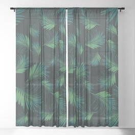Tropical Night Palms Pattern #1 #tropical #decor #art #society6 Sheer Curtain