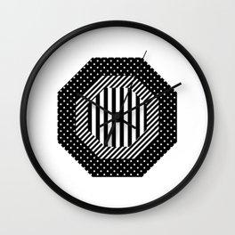 Geometric - Hexagon, Black Mixed Pattern 2 Wall Clock