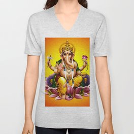 Hindu Ganesha 2 Unisex V-Neck
