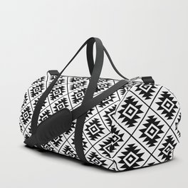 Aztec Symbol Pattern Black on White Duffle Bag