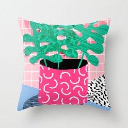 Shredding - indoor house plant pop art grid pattern minimal abstract neon 1980s style memphis retro Throw Pillow