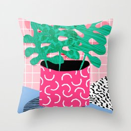 Shredding - indoor house plant pop art grid pattern minimal abstract neon 1980s style memphis retro Throw Pillow