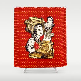 Quirky Office Gals Shower Curtain