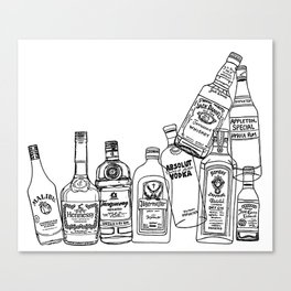 Alcohol Bottles (White) Canvas Print