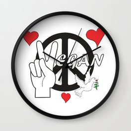 Vegan - Peace and Love Wall Clock