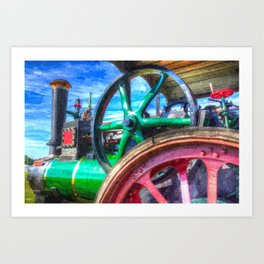 Clayton and Shuttleworth Traction Engine Art Art Print