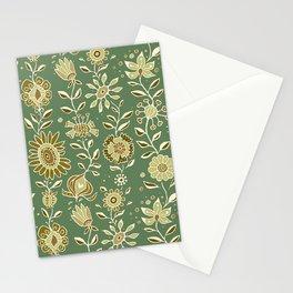 wonky wildflower waterfall ... tan & greens Stationery Cards