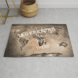"""Adventure is out there"". Stars world map. Sepia. World map. Rug"