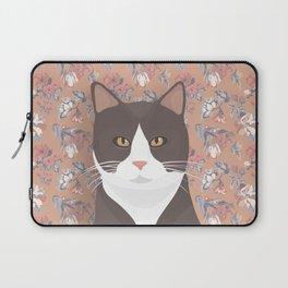Gray Tuxedo Cat and Flowers Laptop Sleeve