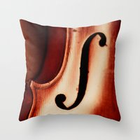 violin Throw Pillows featuring Violin by Maite Pons