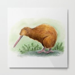 Kiwi - NZ bird watercolor Metal Print