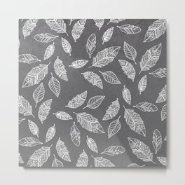 White hand drawn boho feathers hand drawn grey industrial concrete cement Metal Print