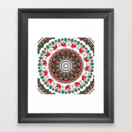 Mandala Christmas Sloth Framed Art Print