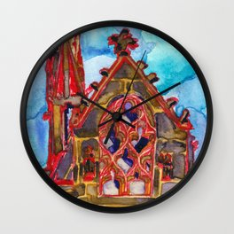 lit up in red Wall Clock