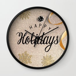Happy Holidays Christmas Wishes Decor Wall Clock