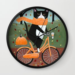 Tuxedo Cat Autumn Bicycle Ride Wall Clock