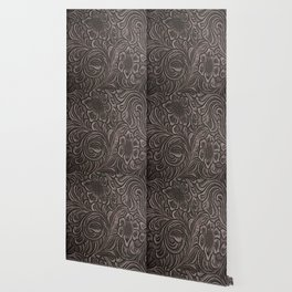 Distressed Smoky Tooled Leather Wallpaper