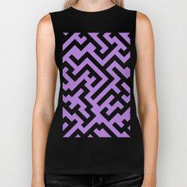 Black and Lavender Violet Diagonal Labyrinth Biker Tank