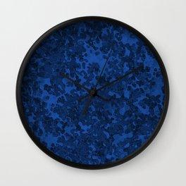 Cobalt Blue Hybrid Camo Pattern Wall Clock
