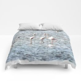 A Flamboyant Pat Of Flamingos Comforters