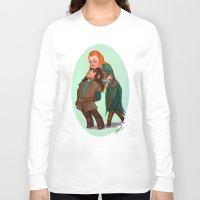 kili Long Sleeve T-shirts featuring Tauriel and Kili by Hattie Hedgehog