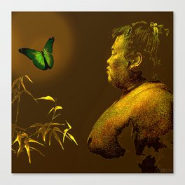 The short-lived life of the butterfly and the sumo wrestler Canvas Print