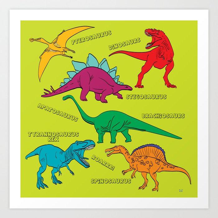 Dinosaur Print - Colors Art Print By Waterflybooks Society6
