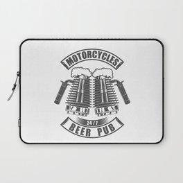 Beer pub emblem in vintage monochrome motorcycle style Laptop Sleeve