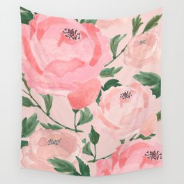 Watercolor Peonies with Blush Background Wall Tapestry