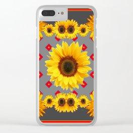 Western Blanket Style Sunflowers Grey Art Clear iPhone Case
