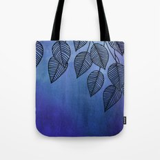 Midnight Blue Garden - watercolor & ink leaves Tote Bag