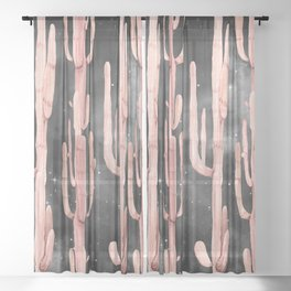 Night Cactus Pink Coral Starry Night Sheer Curtain