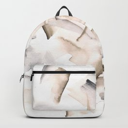 180630 Grey Black Brown Neutral Abstract Watercolour 21| Watercolor Brush Strokes Backpack