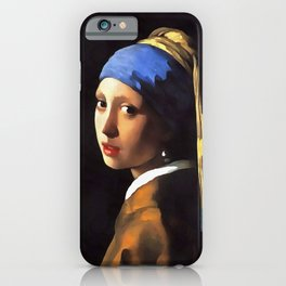 Girl with a Pearl Earring After Johannes Vermeer iPhone Case