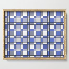 Blue Hue Checkers Serving Tray