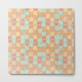seafoam orange capri tiles Metal Print