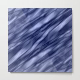 A interweaving cluster of blue bodies on a yellow background. Metal Print