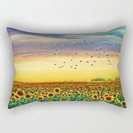 Golden Sunflower Field | Painting Rectangular Pillow